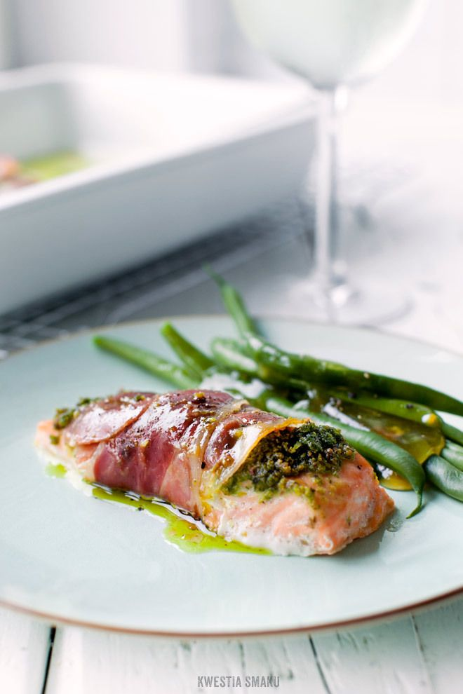 Prosciutto Wrapped Salmon with Pistachio and Basil Pesto - (Free Recipe below)