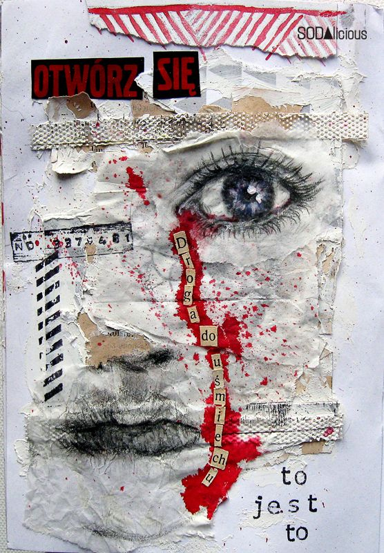 Create a face collage with mixed media. Could be a self-portrait assignment. I would require the use of words and at least 4 different textures, medium, or items.