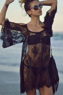 See-Through Floral Pattern Lace Cover-Up