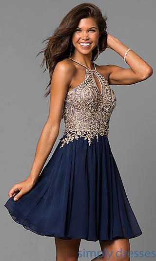 Shop chiffon short homecoming dresses at Simply Dresses. High-neck semi-formal dresses under $200 with beaded embroidered bodices and keyholes.