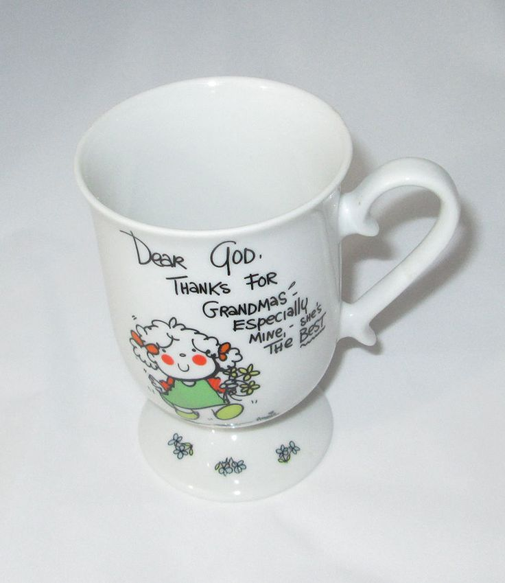 GRANDMA Mug DEAR GOD KIDS 1982 Vintage Thanks Coffee Tea Footed Cup 6 oz #DearGodKids