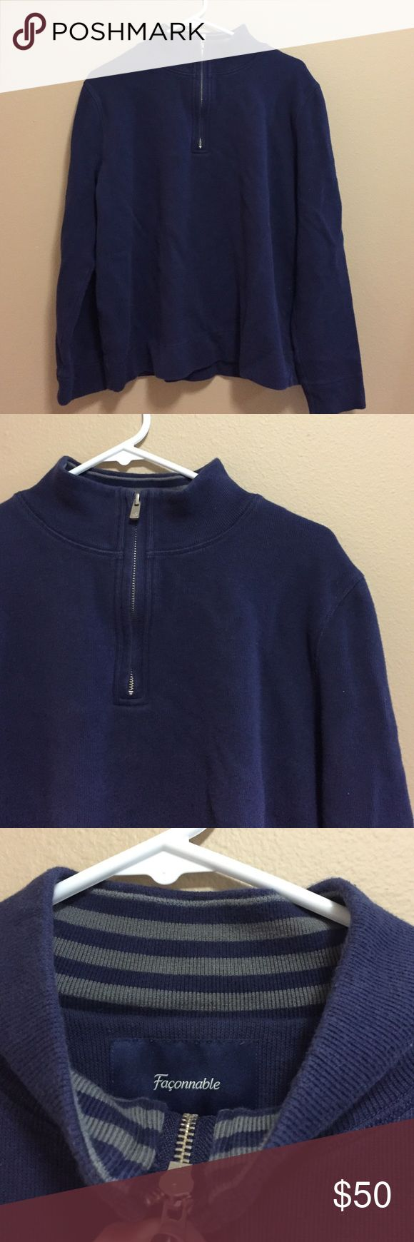 Faconnable Men's sweater Super comfortable Faconnable sweater with a zipper. 100% cotton. Never worn - Navy blue Façonnable Sweaters