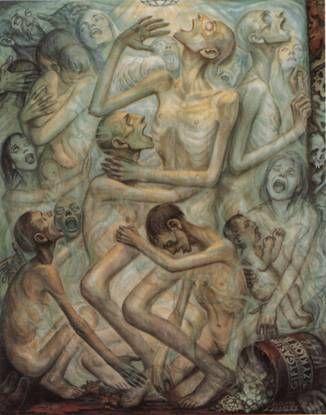 peinture David Olère gazage Auschwitz Birkenau chambre à gaz