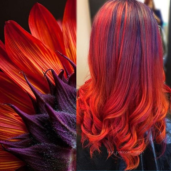 Nice bright red ombre hair color style, nice look to light your 2015 fall