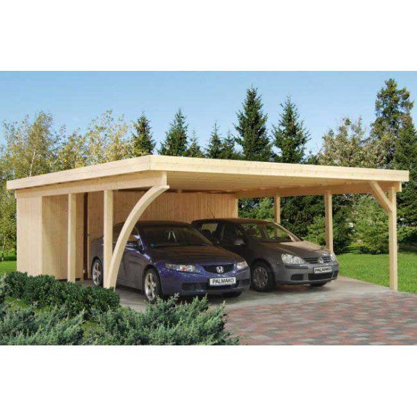 Gudrum Richard 2 Double Carport With Storage Shed To Rear