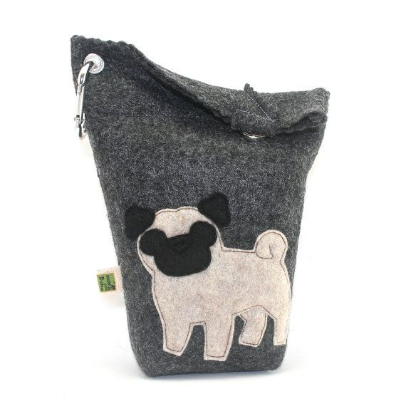 Dog Poop Bag Holder Small Leash Bag Pug by wagsandwiggles on Etsy, $15.99