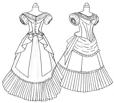 This pattern is a mini pattern, but gives great instruction for larger projects.  Demi 1872 Evening Gown Pattern