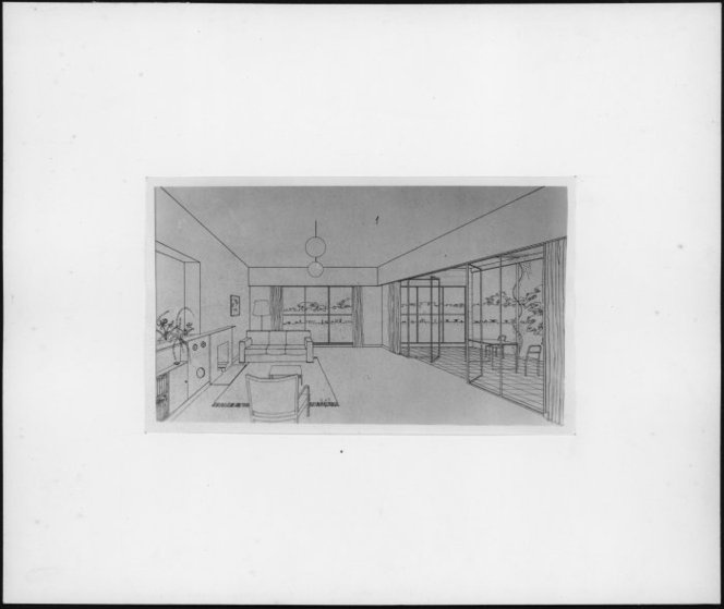Architectural drawing of a living room, by Cedric Firth.