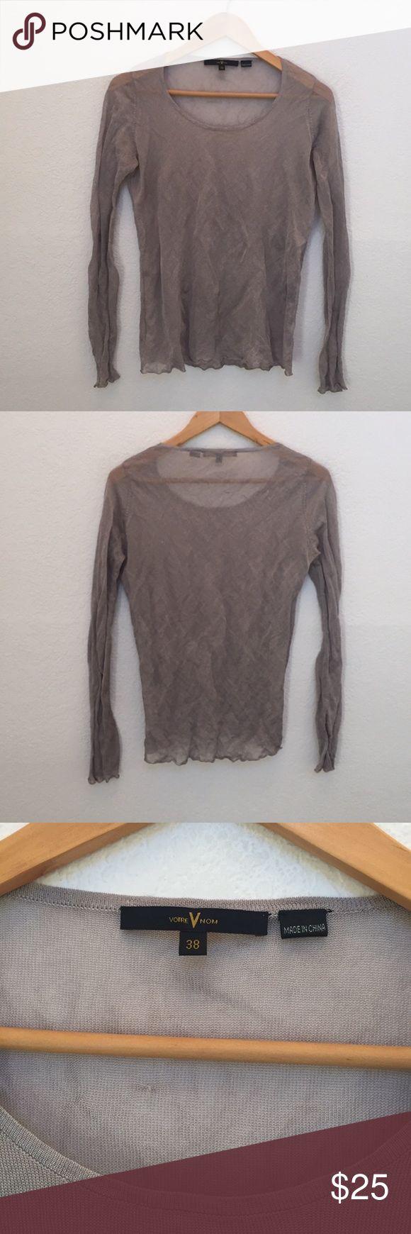 Votre nom Paris metallic long sleeve top Viscose/steel! Very unique top! Sheer so wear that lace bralette under 🙌 votre nom Tops