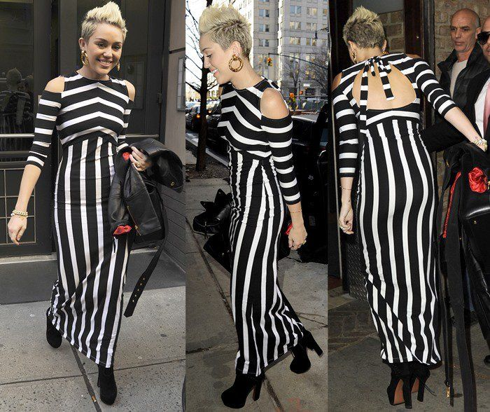 Miley Cyrus outside an office building in Manhattan, New York City on February 14, 2013