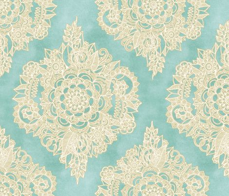 Cream Floral Moroccan on Soft Light Teal fabric by micklyn on Spoonflower - custom fabric