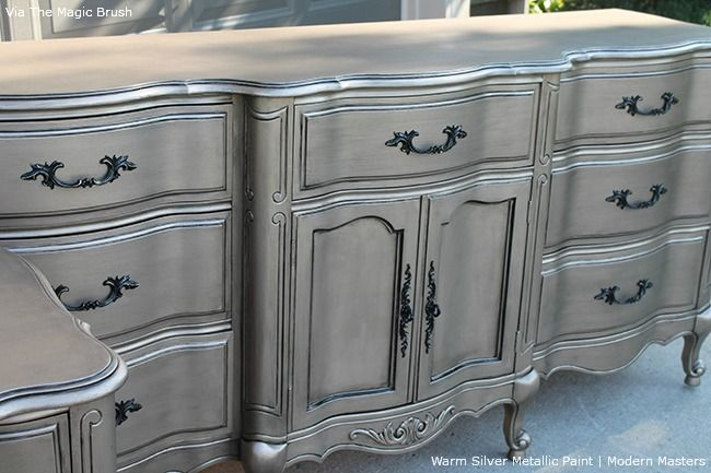 "Jennifer Allwood from The Magic Brush shares her ""most talked about furniture finish"" and it's created with the help of Modern Masters Warm Silver Metallic Paint!"