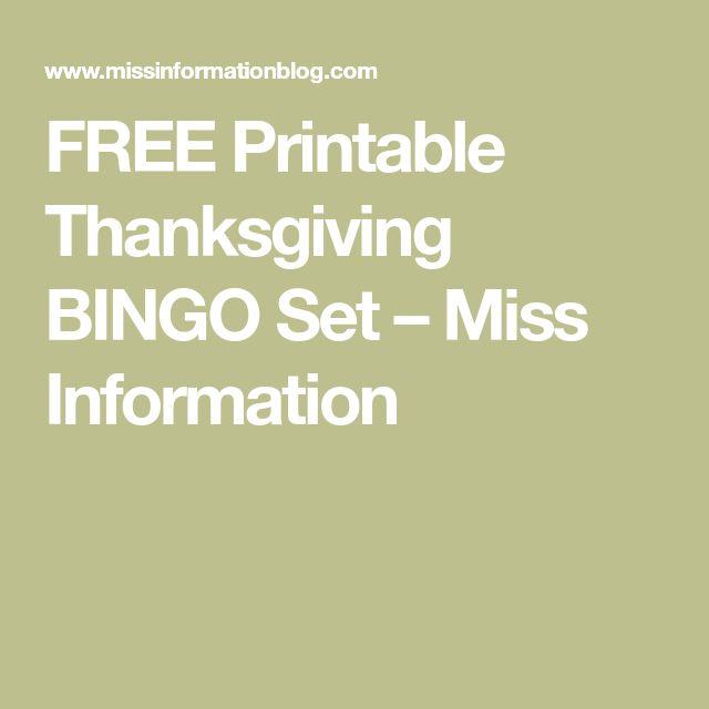 FREE Printable Thanksgiving BINGO Set – Miss Information