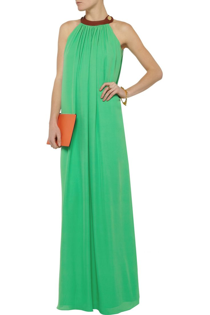 Leather-trimmed silk-chiffon gown | Raoul | 55% off | THE OUTNET