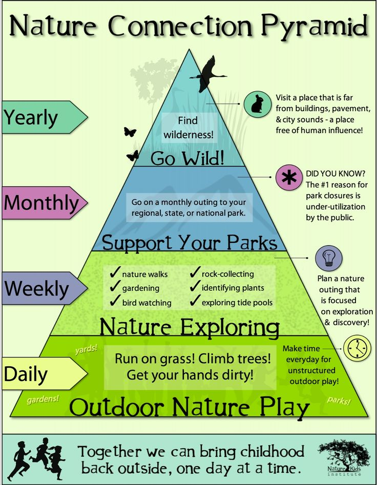 Get Connected to Nature. Daily, weekly, monthly and annual activities to help build children's appreciation for the natural environment. https://bellevuetoddlers.files.wordpress.com/2014/10/pyramid.jpg