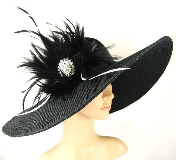 Kentucky Derby Hat Derby Hat Dress Hat Wide brim black Hat with Rhinestone Formal Dress Hat Wedding Tea Party Ascot  Horse Race. $74.99, via Etsy.