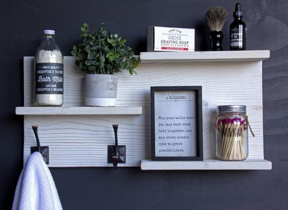 Rustic Reclaimed Style Entry / Bathroom Wall Organizer. Towel, Hat, Coat Hanger shelf