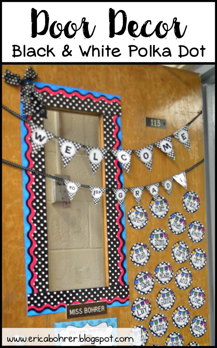 Classroom Welcome Decor : Welcome decor kit black and white polka dot classroom