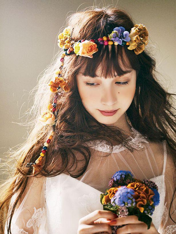 1970年代のヒッピー風! 新鮮♥花冠アレンジ