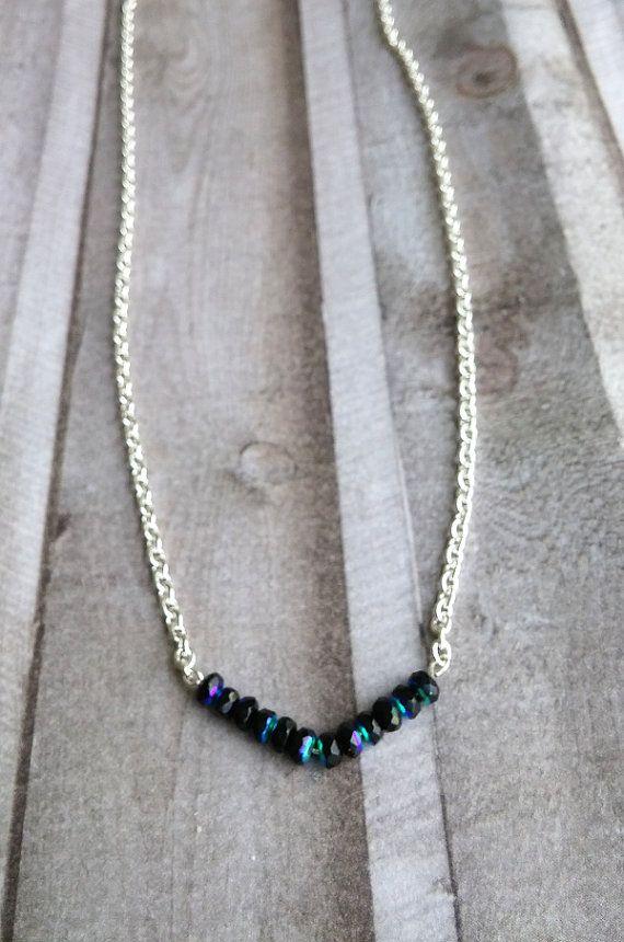 Crystal necklace elegant minimalistic silver with by Cicadella