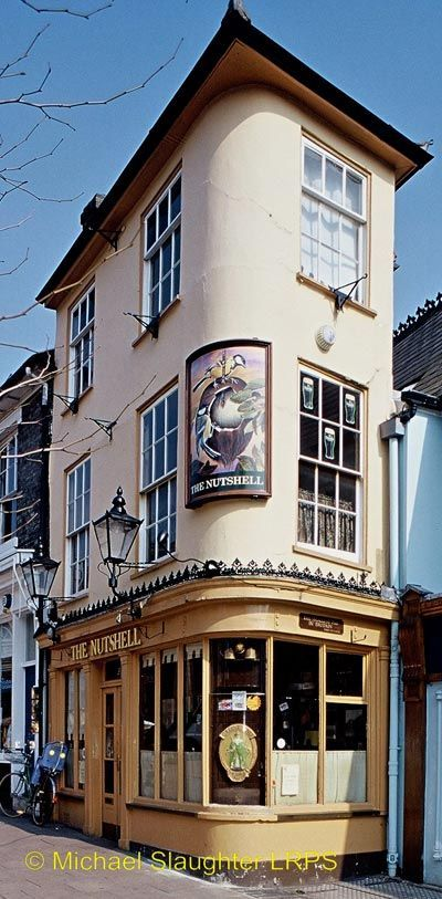 The Nutshell, in Bury St Edmunds, Suffolk, England is Britain's smallest pub. The 16th century building measures less than 5m by 2m and there is no room for more than half a dozen customers at the bar.