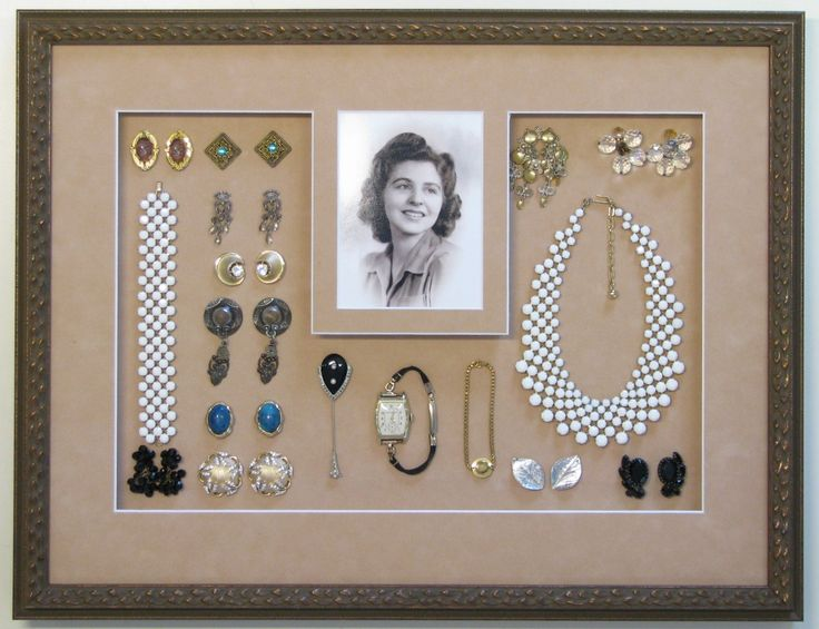 Mom's antique jewelry and photo shadowbox.