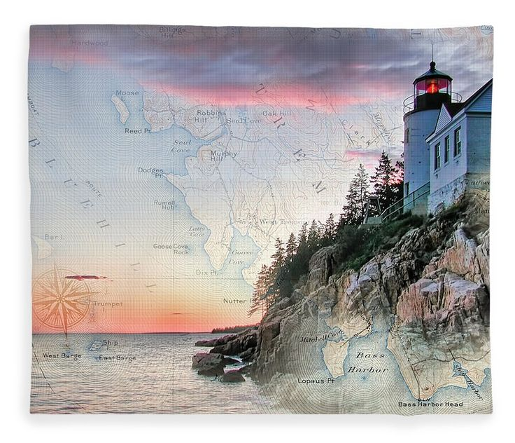 Lighthouses Of New England Fleece Blanket featuring the photograph Bass Harbor Lighthouse On A Chart by Jeff Folger