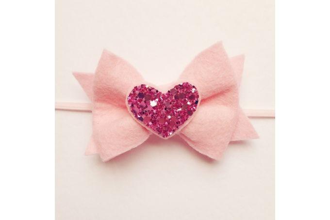 Felt bow with glitter heart headband by Dash Of Cute