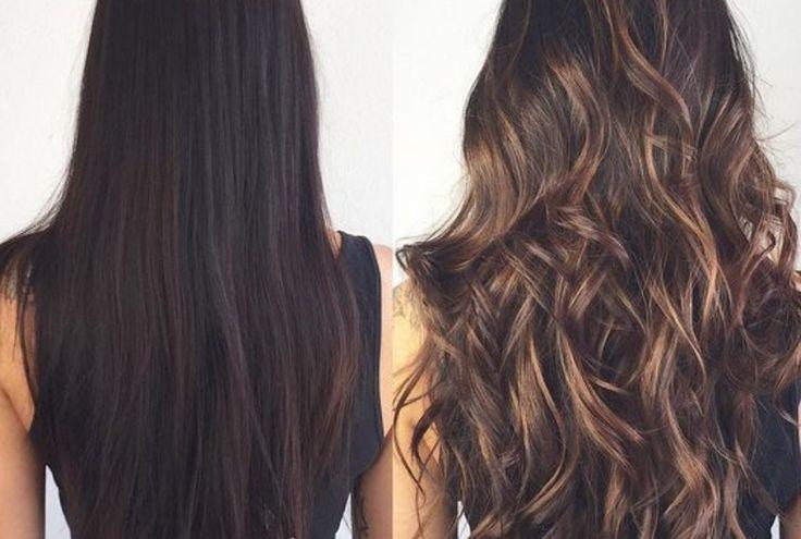 Dziewczyna z długimi ciemnymi włosami pokazuje różnice przed i po rozjaśnieniu włosów