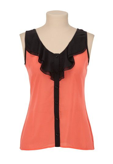 Ruffle Button Front Tank available at #Maurices