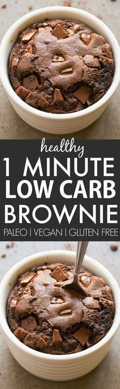Healthy 1 Minute Low Carb Brownie- Oven option too- Moist, gooey and tender on the outside, it's the perfect snack, dessert or treat to enjoy anytime- Packed with protein and completely sugar free and grain free! {vegan, gluten free, paleo recipe}- http://thebigmansworld.com