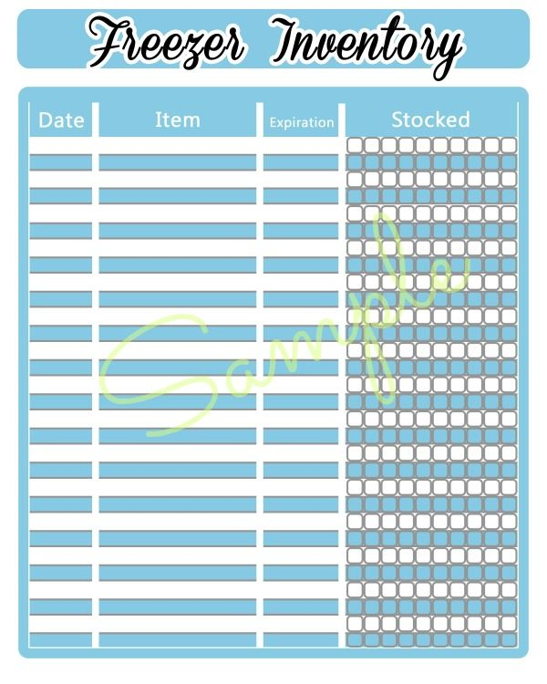 Organizing a chest freezer: Printable Freezer Inventory Sheet