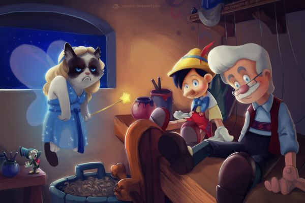 disney grumpy cat meme by eric proctor - pinocchio