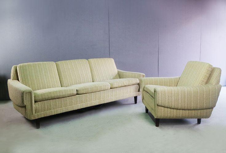 1970's Danish 3 Seat Sofa And Matching Armchair With Original Fabricv photo 1