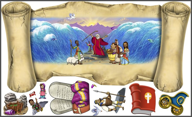 These stickers are selling like hot cakes!  Moses is very in right now, and our Peel'N'Stick scroll wall art is the perfect teaching accessory for your Sunday School.  Available only at Wacky World Studios, $149.99 (http://themes-to-go.com/moses-parts-the-red-sea/)