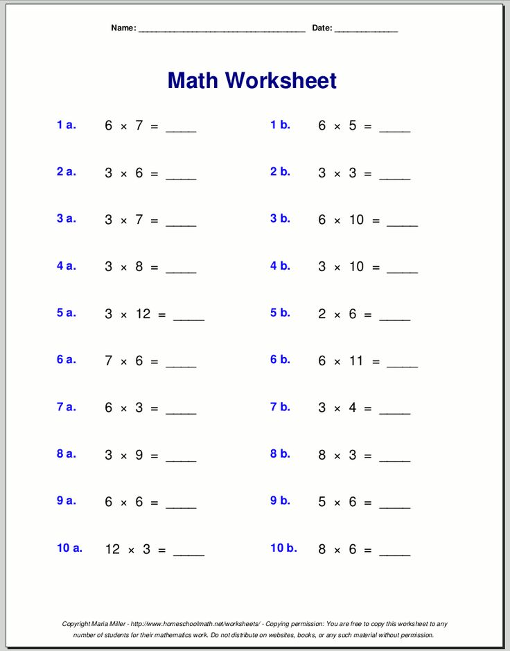 Multiplication worksheets for grade 3 School