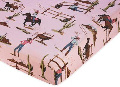 Western Cowgirl Fitted Crib Sheet for Baby / Toddler Bedding Sets - Horse Print