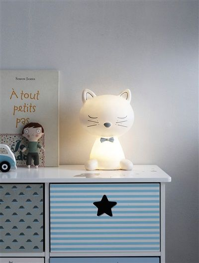 Lampe de chevet chat thème Miaous'tach BLANC - vertbaudet enfant