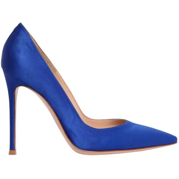 Gianvito Rossi Women 100mm Gianvito Satin Pumps ($730) ❤ liked on Polyvore featuring shoes, pumps, royal blue, pointed toe high heel pumps, royal blue high heel shoes, satin shoes, pointed toe shoes and satin pumps