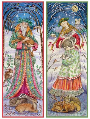 """WOODLAND GUARDIANS -  SAGE AND MAIDEN"" Solstice/Yule cards by Wendy Andrew"
