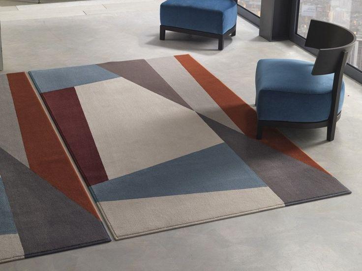 Handmade rectangular polyamide rug with geometric shapes SPLIT by Besana Moquette design Roberto Besana