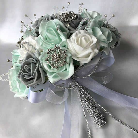 the 8 best mint green grey and white wedding flowers images on