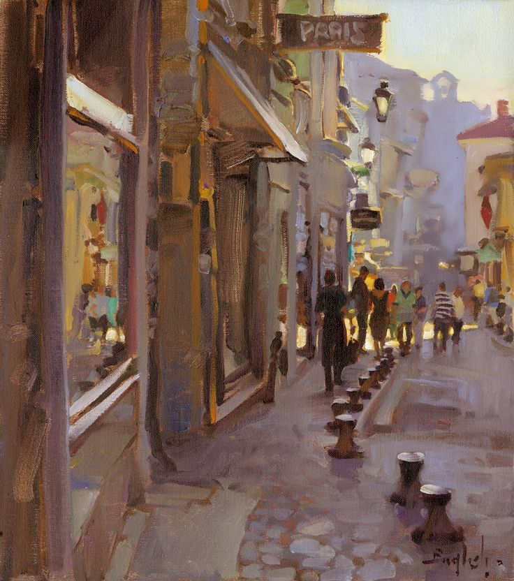 "Kim English (1957-) > ""Morning in Avignon"" | Oil, 16 x 14 inches"