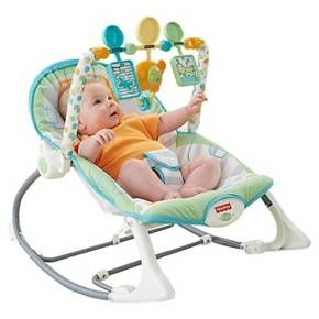 The Fisher-Price Infant-to-Toddler Rocker in this sweet bunny print is just right for growing babies! It's a reclining infant seat with a fold-out kickstand—great for feeding. Adjust the seat upright so baby's movements create rocking motion—with stimulating toys and music to enjoy. For naptime, you can remove the toy bar and switch on calming vibrations. And as your child grows, it becomes a toddler rocking chair —for children up to 40 lbs! S...