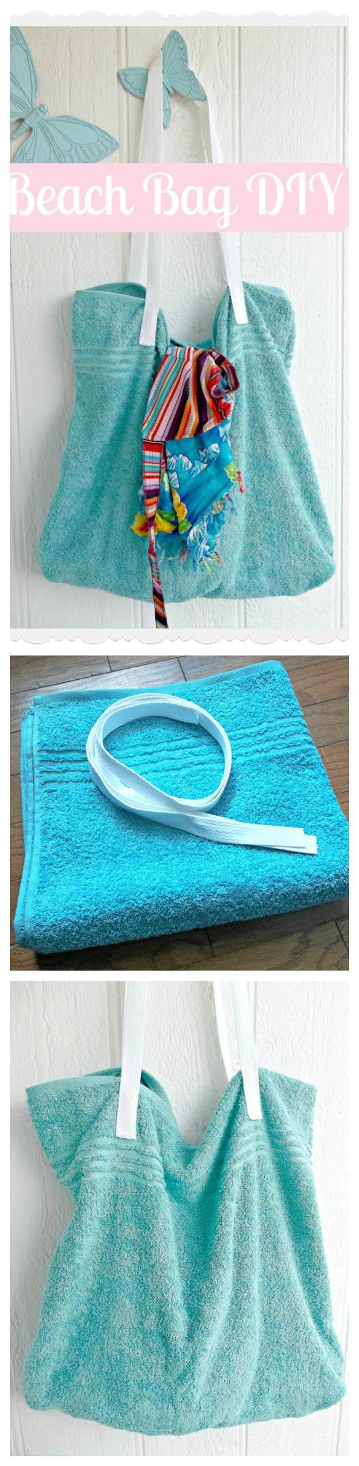 A simple Beach Bag DIY from a BATH TOWEL! Easy sewing tutorial.