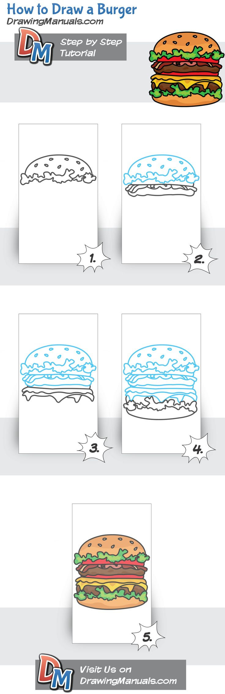 How to Draw a Burger, food drawing tutorial http://drawingmanuals.com/manual/how-to-draw-a-burger/