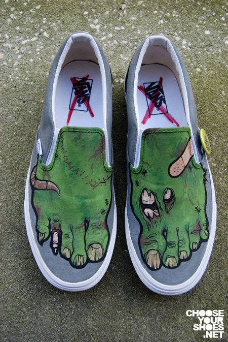 This pair of cool customised Vans sneakers give the wearer a pair of rotten  zombified feet. Brooklyn-based visual artist Michael Burk created the ...