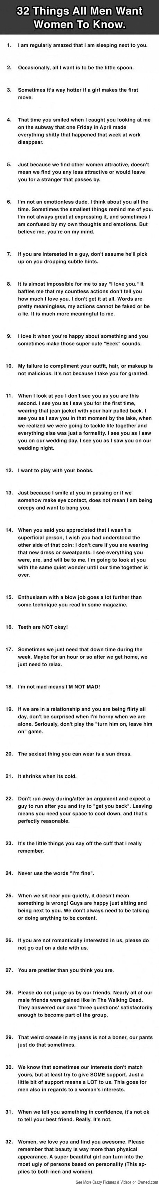 32 Things all Men want women to know...