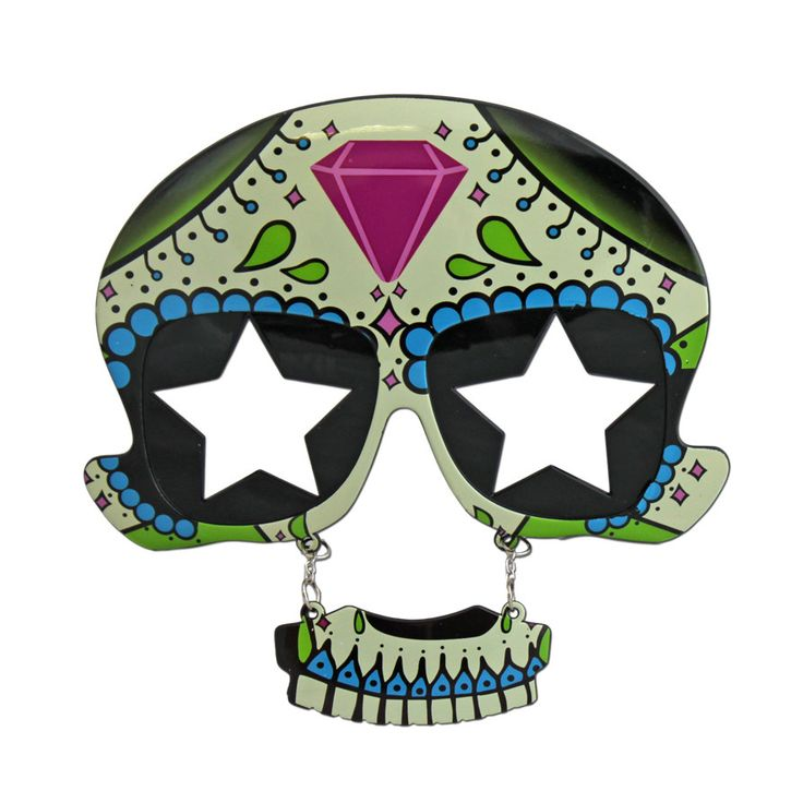 This pair of Day of the Dead glasses with star lenses will be a great addition to your party outfit.