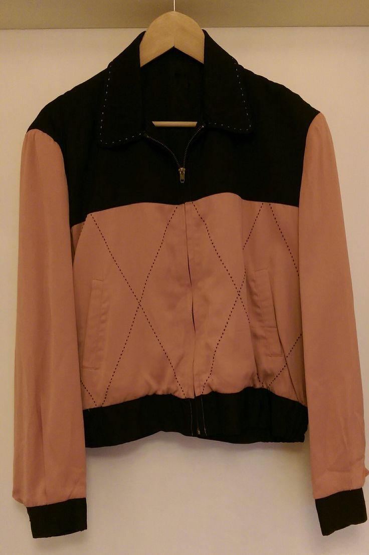 My cousin Chuck wore one similar to this and I thought it was the most BEAUTIFUL color combination I had ever seen. Pink & Black 1950s gabardine jacket ( called a Ricky jacket after R.Ricardo?)